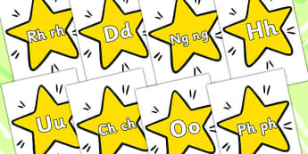 A Z On Stars Welsh - alphabet, alphabet display, EAL, language