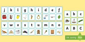 Pune în corespondență literele cu imaginile date Joc - alfabet, litere, literele alfabetului, jocuri, alfabetizare, alfabetul ilustrat, Romanian