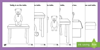 Teddy Bear Prepositions Colouring Pages - in, on under, beside, between, toys, position, positional