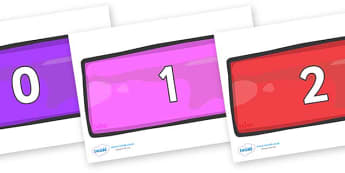 Numbers 0-50 on Bricks (Multicolour) - 0-50, foundation stage numeracy, Number recognition, Number flashcards, counting, number frieze, Display numbers, number posters