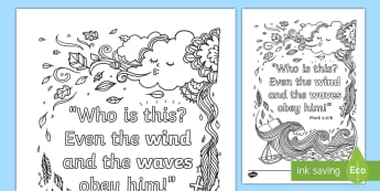 Mark 4:41b Mindfulness Coloring Page - Miracles of Jesus, Bible, Christian, New Testament, Storm, Faith, Story, Memory, Verse, Memorization