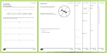 Student Led Practice Probability Activity Sheet, worksheet