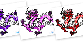 Days of the Week on Chinese Dragons (Multicolour) - Days of the Week, Weeks poster, week, display, poster, frieze, Days, Day, Monday, Tuesday, Wednesday, Thursday, Friday, Saturday, Sunday