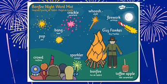 Bonfire Night Scene Word Mat Romanian Translation - romanian