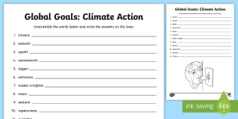 Global Goals: Climate Action Word Unscramble - Scramble, anagrams, reading, keywords, vocabulary, Global Citizenship, Global Issues, warming, clima