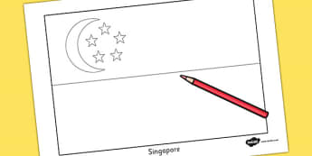 Singapore Flag Colouring Sheet - countries, geography, flags