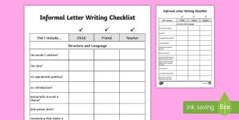 Y5/Y6 Informal Letter Writing Checklist - Requests KS2 English, year5, year 6, Y5, Y6, informal, letter, checklist, informal letter writing, a