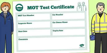 Mechanic Roleplay Area Car MOT Certificate - mechanic, role-play
