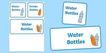 Editable Water Drink Bottle Display Sign - Signs and Labels, water bottles, drinking area