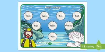 Pearl Diving Word Mat - UAE Culture and Heritage, emirati, arab, pearl diving, topic, ks1, word mat, writing aid, literacy,
