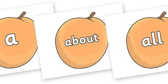 100 High Frequency Words on Giant Peach to Support Teaching on James and the Giant Peach - High frequency words, hfw, DfES Letters and Sounds, Letters and Sounds, display words