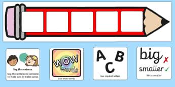 Large Editable Writing Target Cards Pencils - targets, display