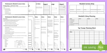 Shakespeare's Macbeth Lesson Plan Ideas and Resources - Shakespeare KS2, William Shakespeare, Macbeth, Lady Macbeth,Macduff, Witches, Glamis Castle, Thane o