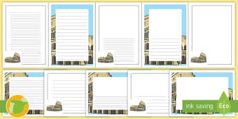 Pautas para escritura: El Coliseo - Cuarto Curso Primaria, Ciencias Sociales, romanización, legado, Edad Antigua, ingeniería, avances,