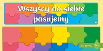 Duże klasowe Puzzle na gazetkę - układanka, gazetka, imiona, pasujemy, jedność,Polish