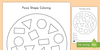 Pizza Shape Coloring Activity - color, coloring, pizza, shapes, art, math