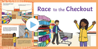 Exploring My World - Race to the Checkout Story PowerPoint - aistear, shopping, supermarket, super market, food, list, book, buying, shop, Irish