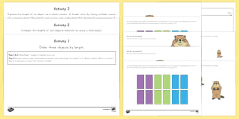 Groundhog Day Ordering and Measuring Activity Sheets - Groundhog day, ordering, measuring, worksheets, measurement