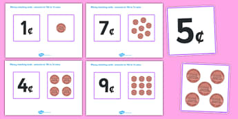 Money Matching Cards 1 to 10 US - money, matching, cards, 1, 10, us
