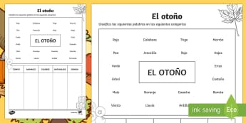 Autumn Words Sorting Activity Sheet