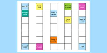 Plantilla Juego de mesa en blanco - repasar, vocabulario, jugar, turnos