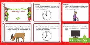 Year 1 Christmas Maths Time Challenge Cards - Christmas, Nativity, Jesus, xmas, Xmas, Father Christmas, Santa, St Nic, Saint Nicholas, traditions,