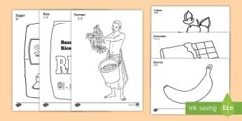 Fairtrade Colouring Pages English/Mandarin Chinese - Fairtrade Colouring Sheets - fairtrade, colouring, colour, sheets, colering, colourng, couloring,EAL