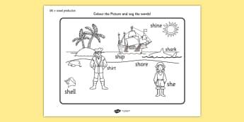 sh Sound Word Production Colouring Scene - ESL Pronunciation Resources