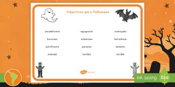 Tapiz de vocabulario: Adjetivos para Halloween - Halloween, día de brujas, adjetivos, vocabulario