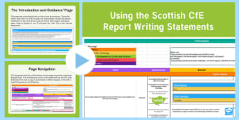 CfE Scottish Report Statements PowerPoint Guide - How to, guide, report cards, report statements, progress cards, help, how to write reports, report w