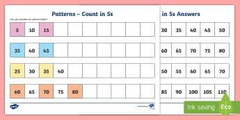 Pattern - Count in 5s Activity Sheet - Algebra, Counting, Patterns, Fours, Skip Counting,Irish, worksheet