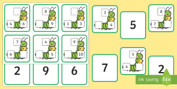 Caterpillar Number Sequence Missing Number Matching Cards - The Very Hungry Caterpillar Number Sequencing Caterpillars  , crunching munching caterpillar, the ve