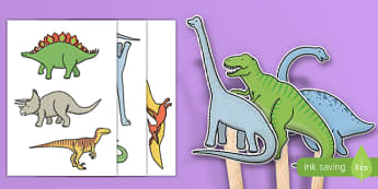 KS1 Dinosaur Stick Puppets - ks1, dinosaur, stick puppets, activity, role play