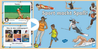 Sports PowerPoint - German - Sports, Hobbies, German, MFL, Languages, DAF, DAZ, Sport, deutsch