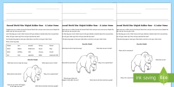 Wojtek Soldier Bear: A Letter Home Differentiated Activity Sheets  - CfE Social Studies, Scotland, world war two, Poland, soldiers, people in the past, past societies, c