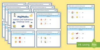 UKS2 MojiMaths Addition and Subtraction Differentiated Challenge Cards - Mathemoji, Solvemoji, Emoticon, Emoji, Algebra