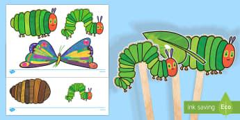 Marionetas de palo: La oruga muy hambrienta - comer, comida, proyecto, cuentos infantiles, ciclo de vida, ciclo vital, mariposa, bichos