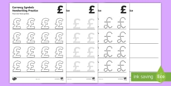 Currency Symbols Handwriting Practice Activity Sheet - Currency Symbols Handwriting Practice Activity Sheet - Handwriting, currency, symbols, formation, wr