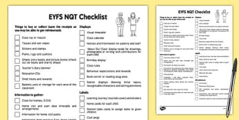 EYFS NQT Checklist - eyfs, nqt, checklist, newly qualified teacher