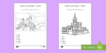 Castles and Knights Color by Numbers Activity - castles, color, color by number, creativity, art, activity