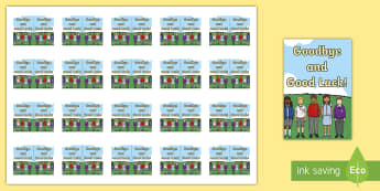Goodbye and Good Luck! Keyring Inserts - end of year, transition, gift, present, pupils