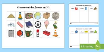 Feuille d'activités : Classement des formes en 3D - Classement des formes en 3D - formes en 3D, formes, classement, activités, 3d, 3D Shape Sorting Act