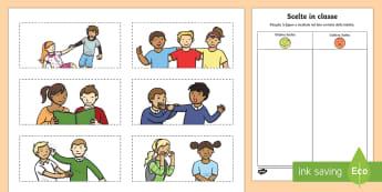 Scelte in Classe Esercizio Ritaglia Incolla Italian - comportamento, esercizio, scuola, elementari, italiano, italian