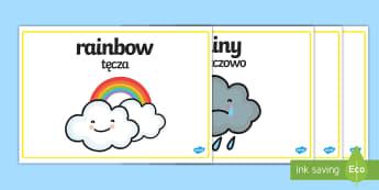 Weather Words Display English/Polish - Weather Words Display Posters - weather and the seasons, weather posters, weather word posters, weat