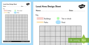 Local Area Design Sheet - local area, design sheet, design worksheet, planning worksheet, location, local area planning worksheet, grid worksheet, design