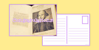 Reward Postcard Shakespeare Folio - reward, postcard, shakespeare, reward postcard, praise