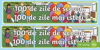100 de Zile de Școală, 100 de zile mai isteți! - Banner - 100 de zile de școală, română, diplome, sărbători, materiale, diplomă, banner, decorul clasei