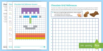 Geography Department Prospective Parents' Evening: Chocolate Grid References Activity Sheet - Grid references, map skills, geography, KS2, KS3, four figure grid reference, prospective parents ev