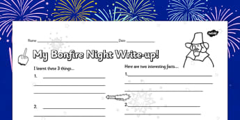 Bonfire Night Write Up Worksheet - writing, firework, festivals