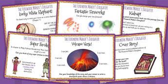 The Firework Maker's Daughter Challenge Cards - myths, stories